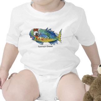 Pescados infantiles personalizados bebé del loro traje de bebé