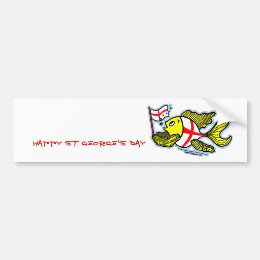 Pescados ingleses de la bandera del St Jorte del d Pegatina De Parachoque