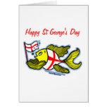 Pescados ingleses de la bandera del St Jorte del d Felicitaciones