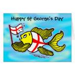 Pescados ingleses de la bandera del St Jorte del d Tarjeta