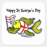 Pescados ingleses de la bandera del St Jorte del Pegatina Cuadrada