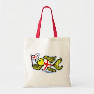 Pescados ingleses que sostienen la bandera inglesa bolsa tela barata