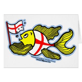 Pescados ingleses que sostienen la bandera inglesa tarjeta de felicitación