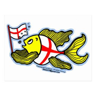 Pescados ingleses que sostienen la bandera inglesa tarjeta postal