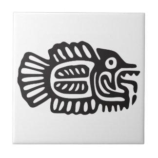 Pescados, jeroglífico mexicano (maya) azulejo cuadrado pequeño