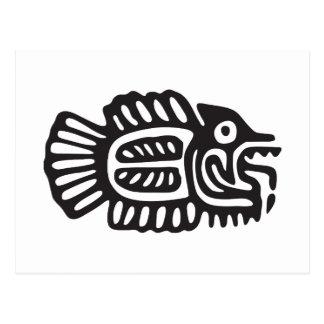 Pescados, jeroglífico mexicano (maya) tarjetas postales