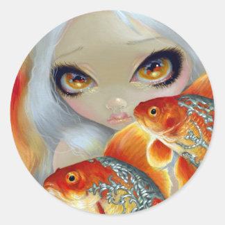 Pescados Jeweled Pegatina de la plata y del oro