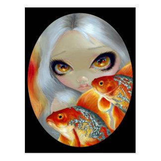 Pescados Jeweled Postal de la plata y del oro