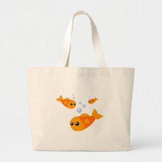 Pescados lindos bolsa tela grande