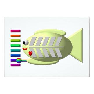 Pescados lindos de la radiografía que tocan el invitación 8,9 x 12,7 cm