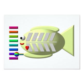 """Pescados lindos de la radiografía que tocan el invitación 5"""" x 7"""""""