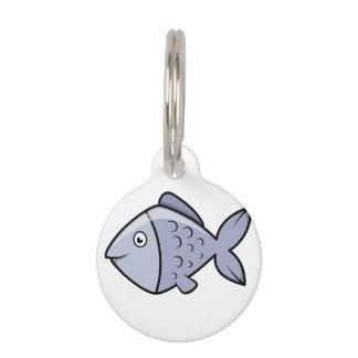 Pescados lindos del dibujo animado identificador para mascotas