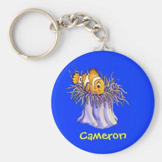 Pescados lindos del payaso del dibujo animado llaveros personalizados