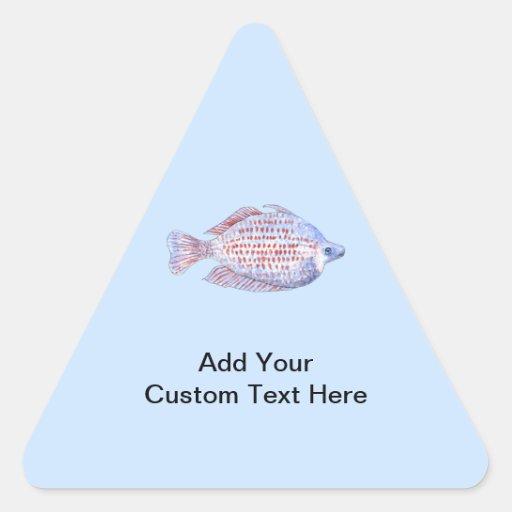 Pescados. Línea roja Rainbowfish. Pegatina Triangular