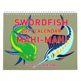 Pescados Mahi-Mahi 2011 del delfín de Dorado de lo Calendario
