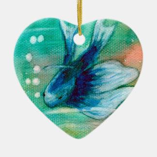 Pescados manchados de tinta azules de Betta Adorno Navideño De Cerámica En Forma De Corazón