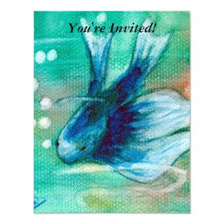 """Pescados manchados de tinta azules de Betta Invitación 4.25"""" X 5.5"""""""