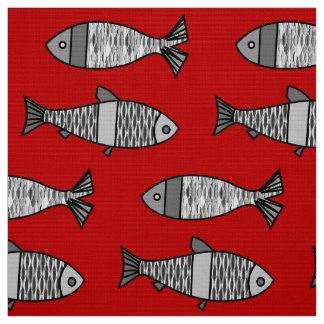Pescados modernos, de color rojo oscuro retros y telas