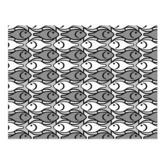 Pescados modernos, gris, blanco y negro de los tarjeta postal