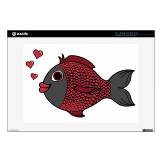 Pescados negros y rojos del el día de San Valentín Portátil Skins