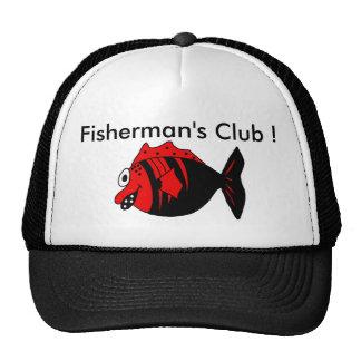 Pescados negros y rojos divertidos y lindos del gorras de camionero