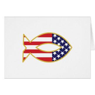 Pescados patrióticos tarjeta de felicitación