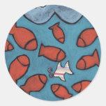pescados pegatina redonda