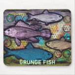 Pescados, pescados Mousepad del Grunge Tapetes De Ratones