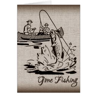 Pescados pesqueros idos del kajak de la canoa del tarjeta de felicitación