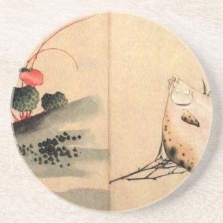 Pescados planos y rosa de Katsushika Hokusai Posavasos Cerveza