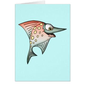 Pescados por aguas arriba que nadan tarjeta pequeña