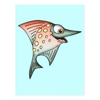 Pescados por aguas arriba que nadan tarjeta postal