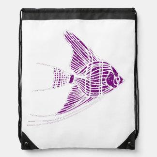 Pescados púrpuras apenados del ángel mochila