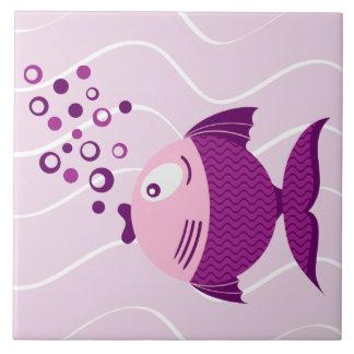 Pescados púrpuras azulejo cuadrado grande