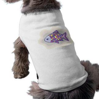 Pescados púrpuras camiseta de mascota