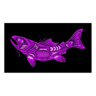 Pescados púrpuras del alcohol del Haida en negro Plantillas De Tarjetas Personales