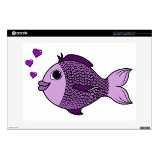 Pescados púrpuras del el día de San Valentín con Portátil Skin