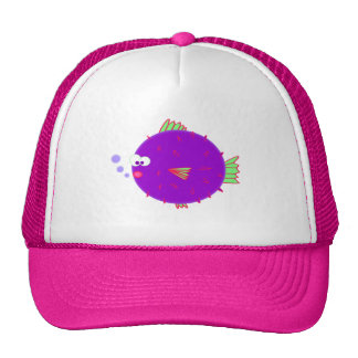 Pescados púrpuras del fumador gorras
