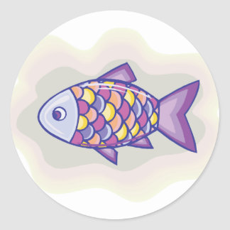 Pescados púrpuras etiquetas redondas