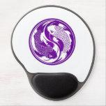 Pescados púrpuras y blancos de Yin Yang Koi Alfombrillas De Raton Con Gel