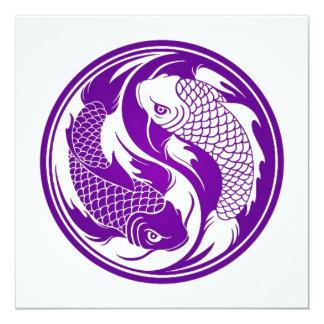 Pescados púrpuras y blancos de Yin Yang Koi Invitaciones Personales