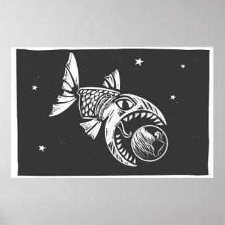 Pescados que comen la tierra póster