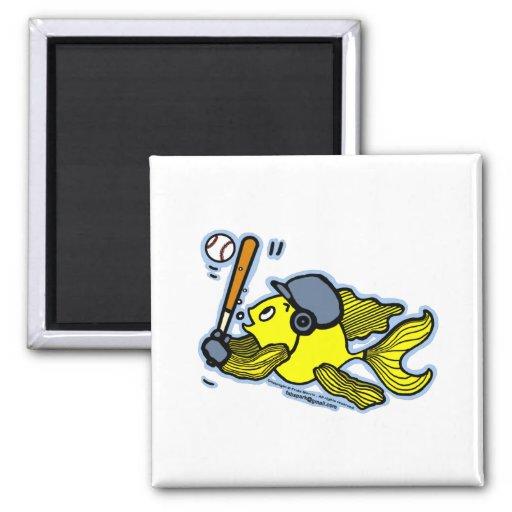Pescados que juegan al béisbol - dibujo animado di imán para frigorífico