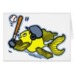 Pescados que juegan al béisbol - dibujo animado di felicitaciones