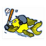 Pescados que juegan al béisbol - dibujo animado di postales