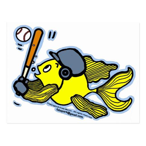 Pescados que juegan al béisbol - dibujo animado di postal