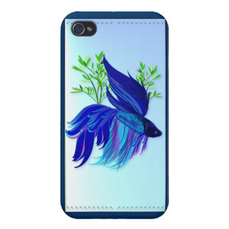 Pescados que luchan siameses azules grandes iPhone 4 protector
