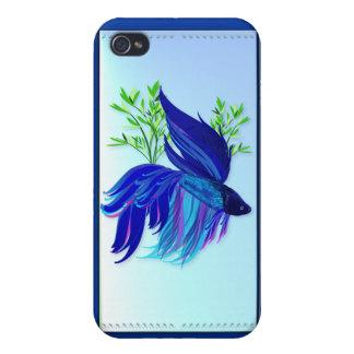 Pescados que luchan siameses azules grandes iPhone 4 fundas