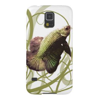 Pescados que luchan siameses de Betta del oro Carcasas De Galaxy S5