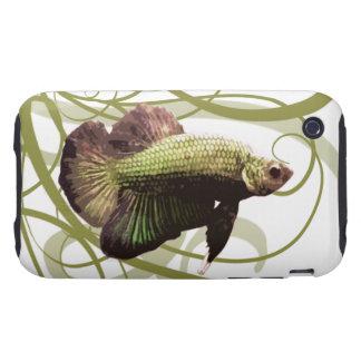 Pescados que luchan siameses de Betta del oro iPhone 3 Tough Cárcasa